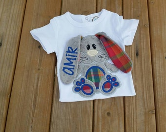 custom personalized 3d easter floppy ear bunny shirt or onesie