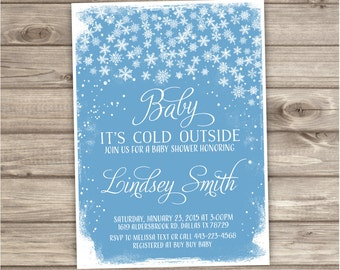 Baby Its Cold Outside Invitation Winter Snowflake Baby Shower Its a boy NV793
