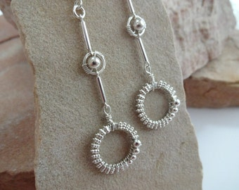 Sterling Silver Wire Wrapped Beaded Ring and Column Earrings
