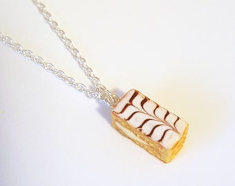 Miniature French Pastry Chocolate Mille Feuille Necklace with Silver Plated Chain