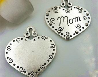 36x38mm antique silver heart charm pendant mom charm pendant MT0819