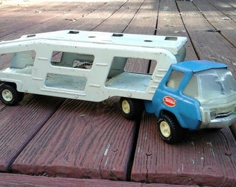 Vintage Tonka Car Carrier, Blue And White Pressed Metal Tonka truck Hauler,Vintage Toy,Vintage Tonka, Collectable Toy, Tonka,Metal Tonka