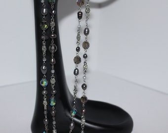 Vintage Multi-Color Iridescent Beaded Long  Necklace