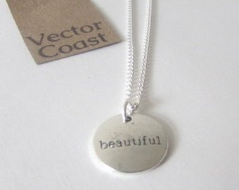 Inspirational Charm Necklace, Charm Jewelry, Inspiration Jewelry, Beautiful, Inspire, Gift For Her, Stamped Jewellery