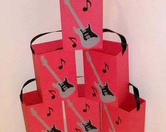 Set of 6, Guitar Party Bag, Rockstar Party Bag, Rock Star Party Bag, Rock Star Party Favor, Rockstar Party Favor, Guitar Party Favor, Music