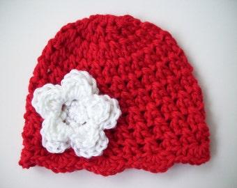 Toddler Girl Hat, Crochet Baby Hat, Newborn Photo Prop, Newborn Baby Hat, Baby Girl Beanie, Toddler Beanie, Red White, Baby Girl, Baby Gift