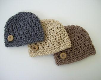 Crochet Baby Hat, Hospital Hat, Baby Boy Hat, Newborn Beanie, Baby Boy, Newborn Hat, Newborn Photo Prop, Baby Boy Beanie, Baby Shower Gift