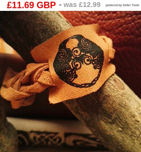 SALE ! ODINS RAVENS Huginn & Muninn symbol Handmade unique Norse engraved tan genuine leather wristband strap bracelet cuff Viking mythol...