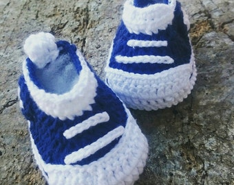 Handcrochet Baby Boy Sneakers, Sweet Summer Boys Shoes, Blue Baby Shoes, White and Blue, Newborn Baby Boy, Cotton Boys Sneakers