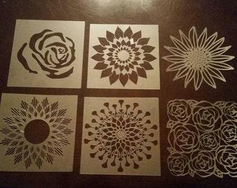 """3"""" flower stencil set, contains 6 flower stencils"""