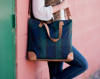 Plaid Shoulder Bag- Plaid Tote Bag