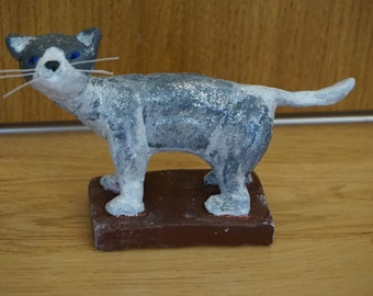 60% SALE: Handmade clay cat animal totem sculpture