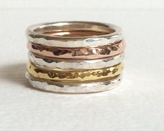 Silver stacking rings / Stacking rings - Rose Gold Stacking Ring Set / Stacking Rings Silver / Ring Set / Rose Gold Stacking rings
