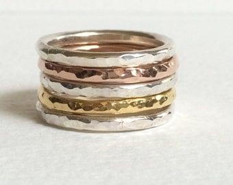 Silver stacking rings / Stacking rings - Rose Gold Stacking Ring Set / Stacking Rings Silver / Ring Set / Rose Gold Stacking rings