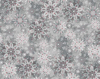 """Pewter Snowflakes Christmas Fabric/""""Christmas Dreams"""" collection  24555 -K"""