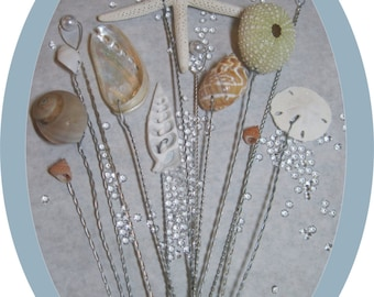 Beach Wedding- Natural Seashells - Seashell Bouquet Wired Shells - Starfish - Wired Seashells - Seashell Stems - Use in your Fresh Bouquet