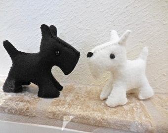 Scottish Terriers, felt Scottie dog, white dog, black dog, stuffed felt animal, soft toy