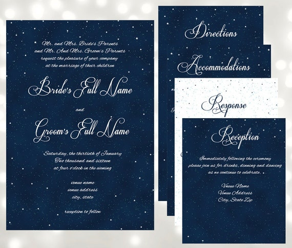 starry night wedding invitations under the stars wedding, Wedding invitations