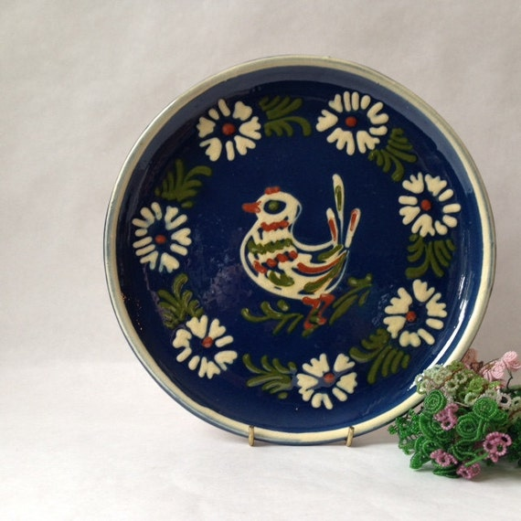 Vintage French Country Pottery Plate In Dark Blue With Bird
