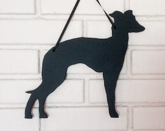Italian Greyhound Handmade Chalkboard Wall Hanging - Dog Shadow Silhouette - Country Decoration - Great Gift