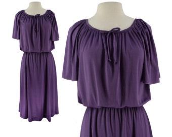 Vintage Dress, 1970s Dress, 70s Dress, Purple Dress, 70s Disco Dress, Liz Roberts Dress, Disco Dress, Secretary Dress, 70s Party, Small