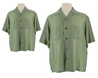 Mens Retro Shirt, 1950s Shirt, 50s Green Rockabilly Shirt, Silky Shirt, Retro Shirt, Swing Shirt, Rat Pack, Atomic, Swanky Shirt,  Size XL