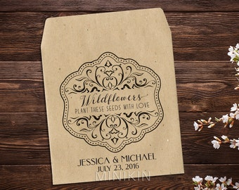 Wedding Seed Packets Personalized Favors Wildflower Seed Packets Rustic Wedding Vintage Wedding Let Love Grow Seed Packet Favors x 25