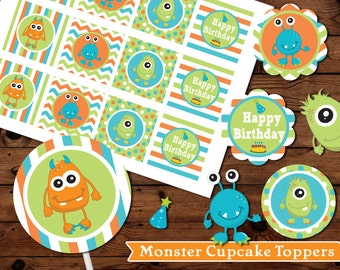 Little Monsters Monster Cupcake Toppers,  Party Favor Tags, Cupcake Topper,  Birthday Decor,  Cupcake, Party Favor