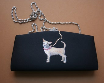 Evening Clutch, Satin Handbag with Hand Painted Chihuahua