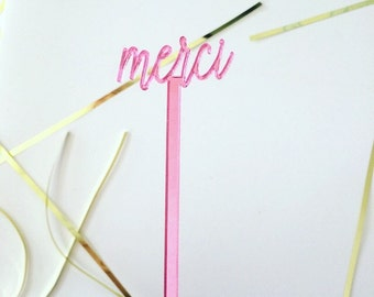 Merci stirrer,French decor,swizzle Sticks,Drink Stirrer,Cocktail Sticks,Birthday,Party Decor,Bridal Shower,French theme,Stir Sticks, 6 Pk
