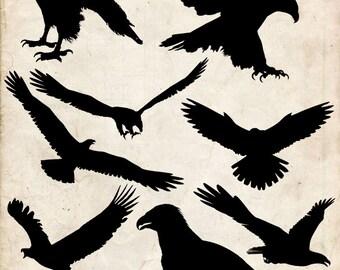 Eagle Silhouette clip art , 9 png Clipart , Instant Download, Falcon clip art