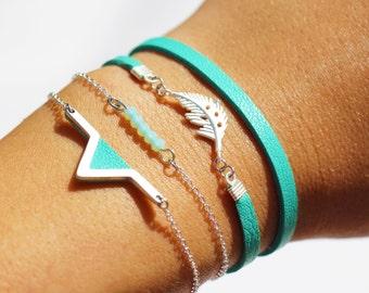 """bracelet multitours """"WIYAKE"""" - bracelet multirangs -cuir véritable -Couleur Menthe -plume argent-bracelet fin et élégant-style ethnique chic"""