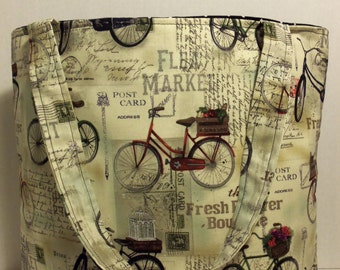Vintage Bicycle Tote Bag, Vintage Bicycle Purse