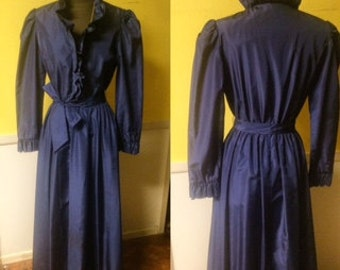 Vintage Taffeta Chiha by Jaconelli Navy Gown