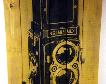 HUGE Antique Camera Painted on Reclaimed Wood