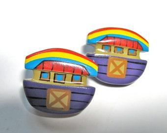 Novelty earrings, painted wood, post earrings, 27x30mm, purple, yellow, blue snd red, vintage earings - B 392