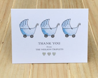 Thank You Cards Baby Shower, Boy Triplets Thank You Cards, Baby Shower Thank You Cards, Personalized Baby Cards, Set of 10, Baby Thank You
