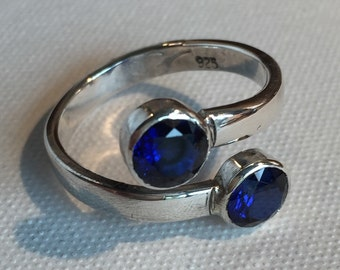 Sapphire Ring - Blue Sapphire Ring - Sapphire Silver Ring - Sapphire Bypass Ring - Blue Sapphire Sterling Silver Bypass Ring