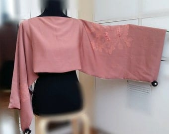 Scarf, shrug, blouse and poncho in natural silk