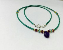 """Afghan Natural Malachite Tiny Seed Beads with Amethyst Pendant, Garnet, Peridot, Gold Plated & Silver Clasp Necklace Jewelry Handmade 17.7"""""""