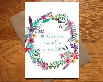 Watercolor New Baby Card / Every Day Spirit / Sweet Baby Card / Pretty Baby Card / Congratulations New Baby Card / Welcome Baby Card / 5x7