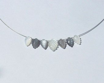 Moonstone necklace engraved leaves gray and white Fine romantic style wedding ceremony accessory jewelry women gift natural stone gemstone