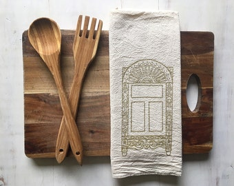 SALE 50% OFF Flour Sack Towel (Unbleached) - Suzdal Russian Window (Gold) - Hand Screen Printed