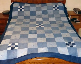 Upcycled Blue Jean Denim Quilt with flannel back, 62x87 (part# 1016)