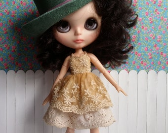 SALE * hat of leather green for BLYTHE