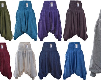 Hippie Wideleg  Ladies Cotton Ali Baba Alladin Comfy Nepalese Baggie Plain Harem Pant Trouser