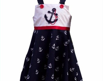 Baby girl dress in a Nautical theme fabric, baby dress, Nautical dress,Birthday outfit,Toddler dress, summer dress, cruise dress, girl dress