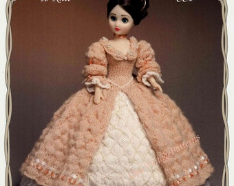 Knitted Doll's Dress ... Victorian Period Dolls Dress ... Vintage PDF Knitting Pattern ... 15 inch Doll ... Instant Download