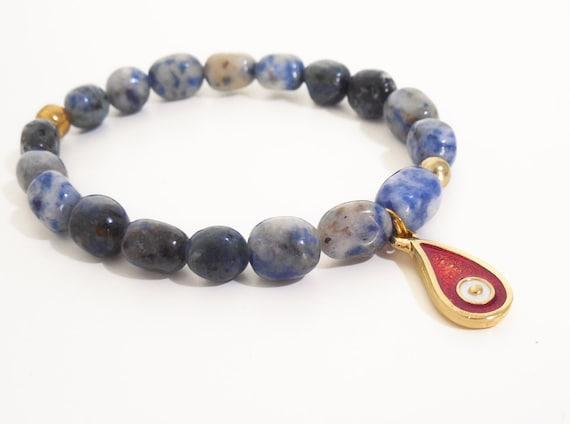 greek evil eye bracelet blue spot gemstone bracelet red