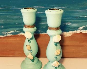 Candlesticks Aqua Green Beach Themed Seashehells Candle Holders